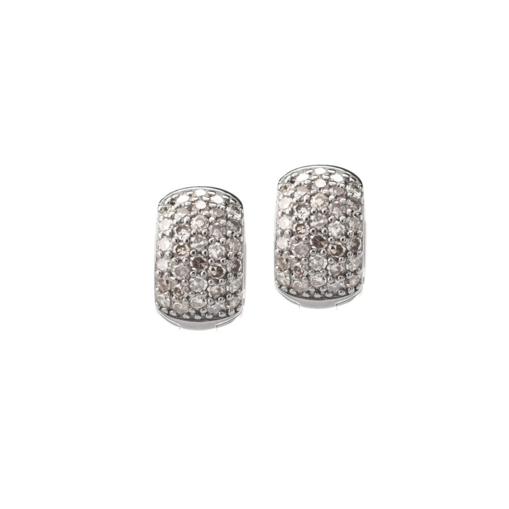 Pave Diamond Chubby Huggies Sterling Silver
