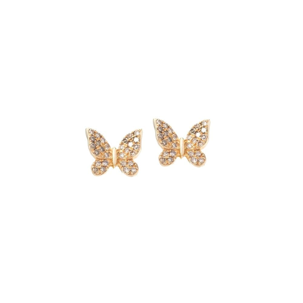 Small Butterfly Earrings 14k Yellow Gold