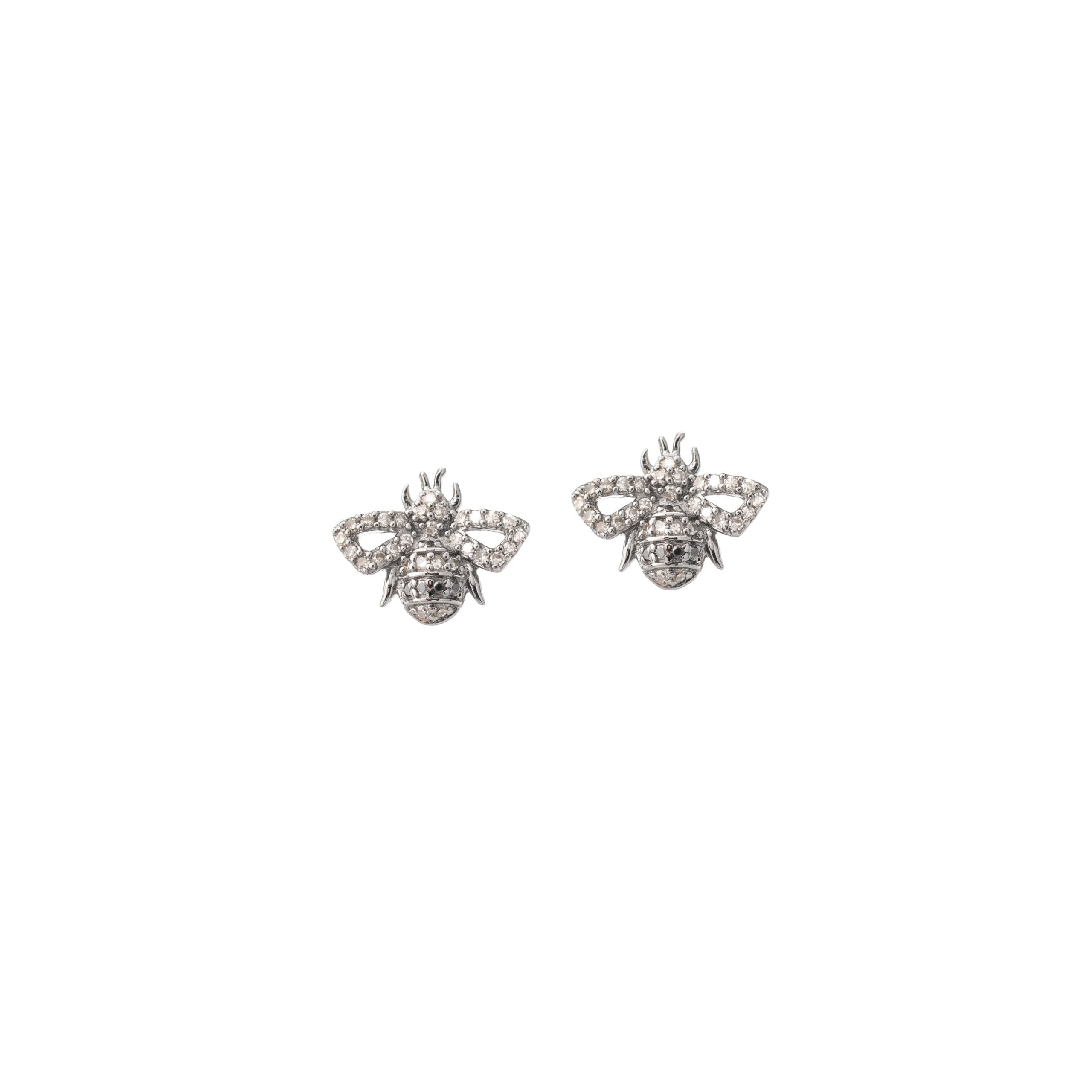 Tiny Bee Earrings Sterling Silver