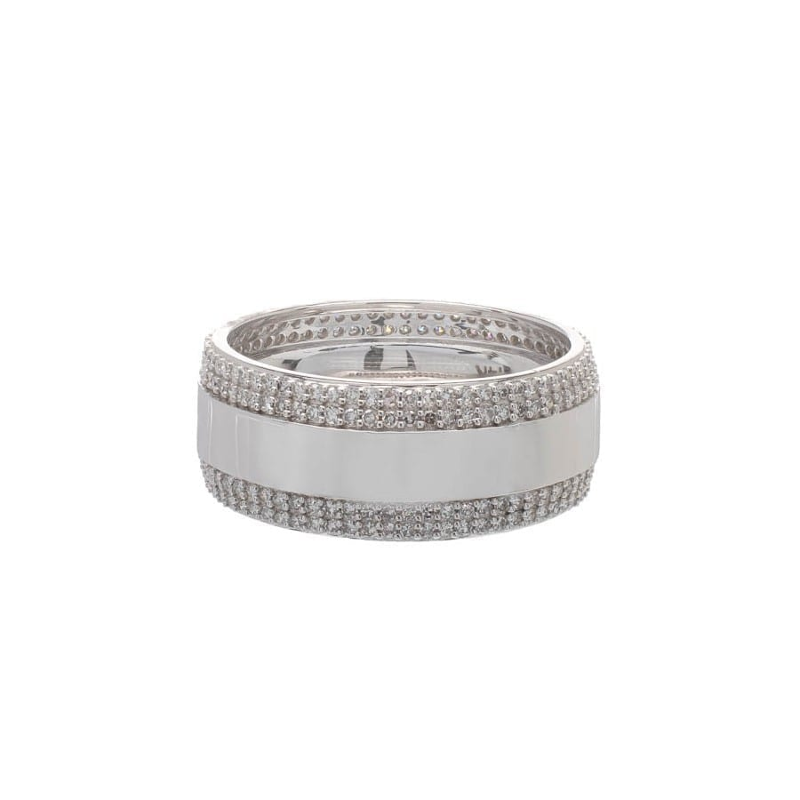 Wide Eternity Band with Rows of Diamonds 14k White Gold