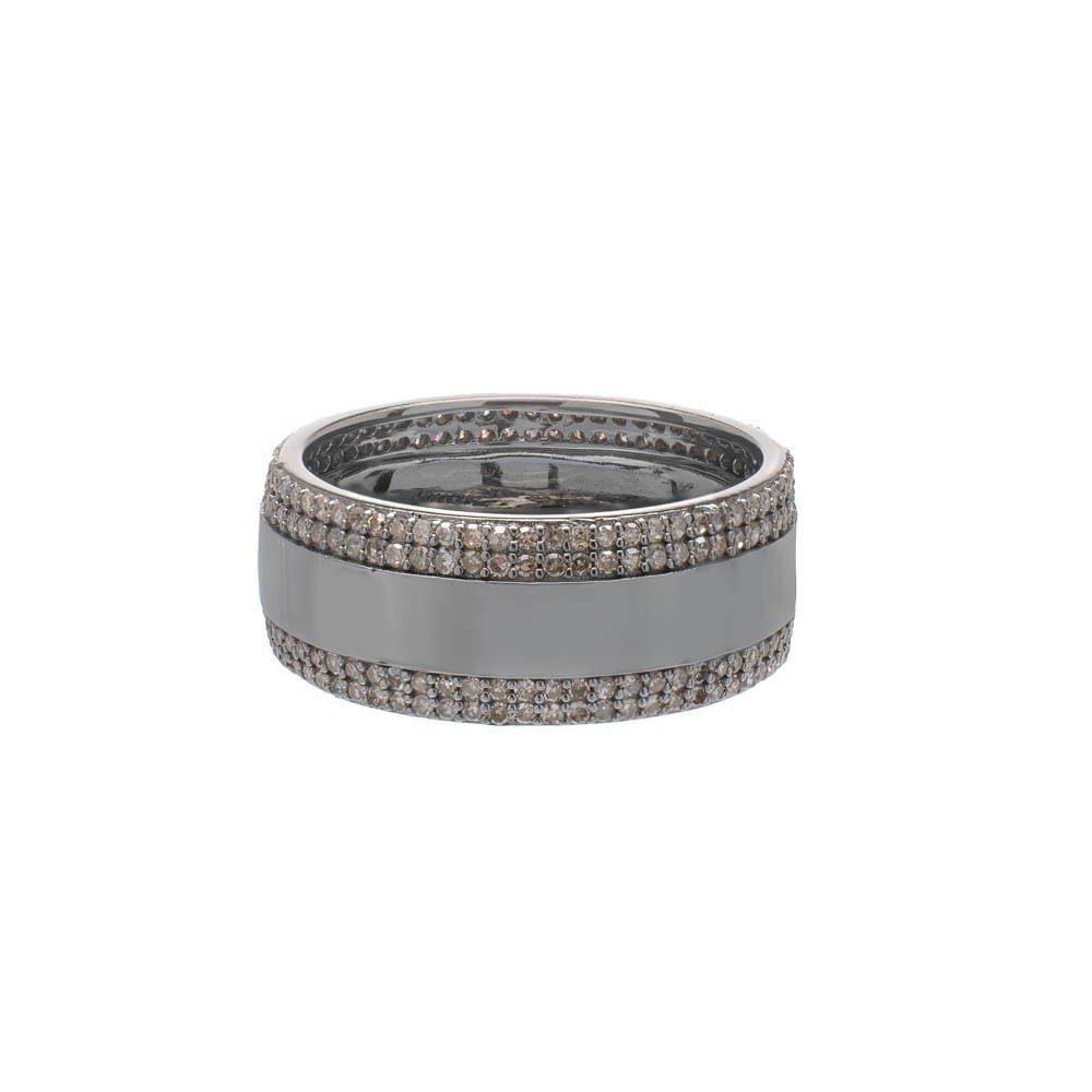 Wide Eternity Band with Rows of Diamonds Rhodium Plated Sterling Silver
