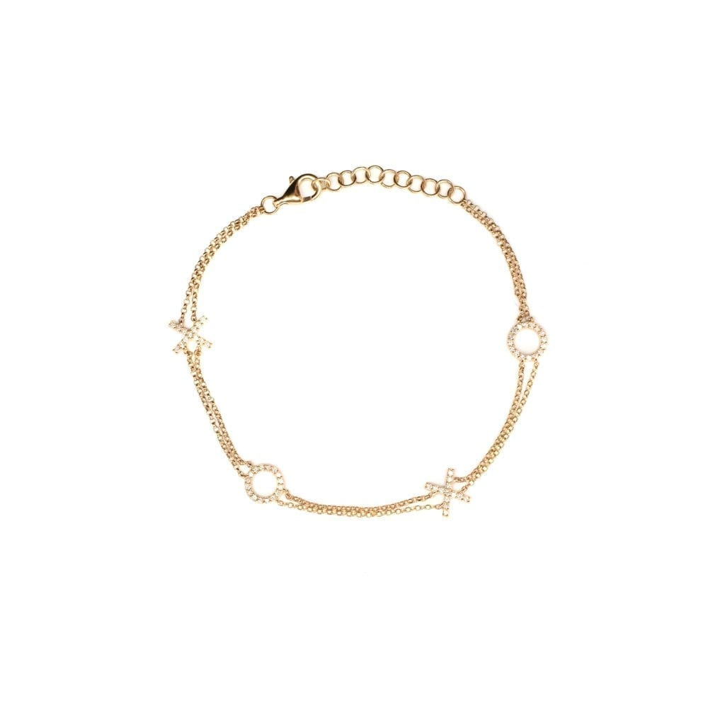 XOXO Double Chain Bracelet 14k Yellow Gold
