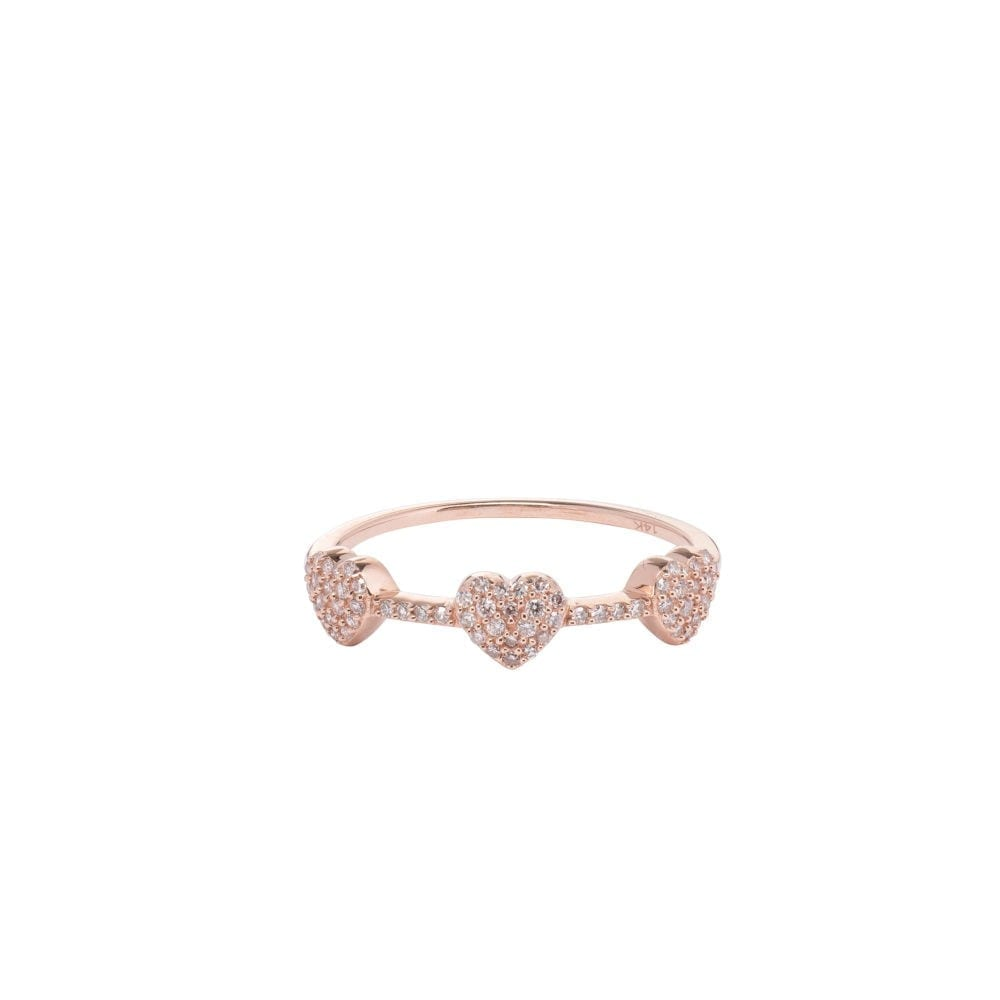 3 Hearts Mini Diamond Ring 14k Rose Gold