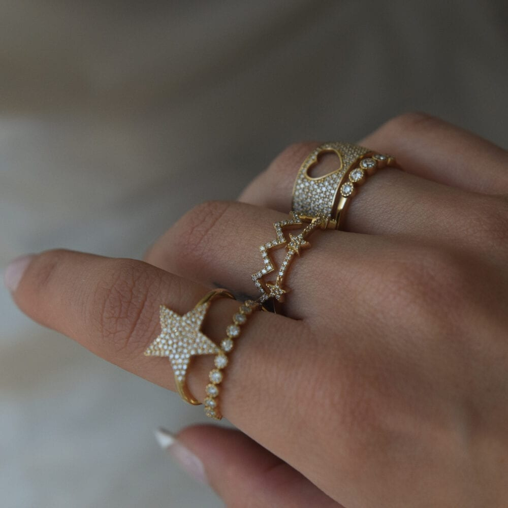 3 Star Mini Diamond Ring