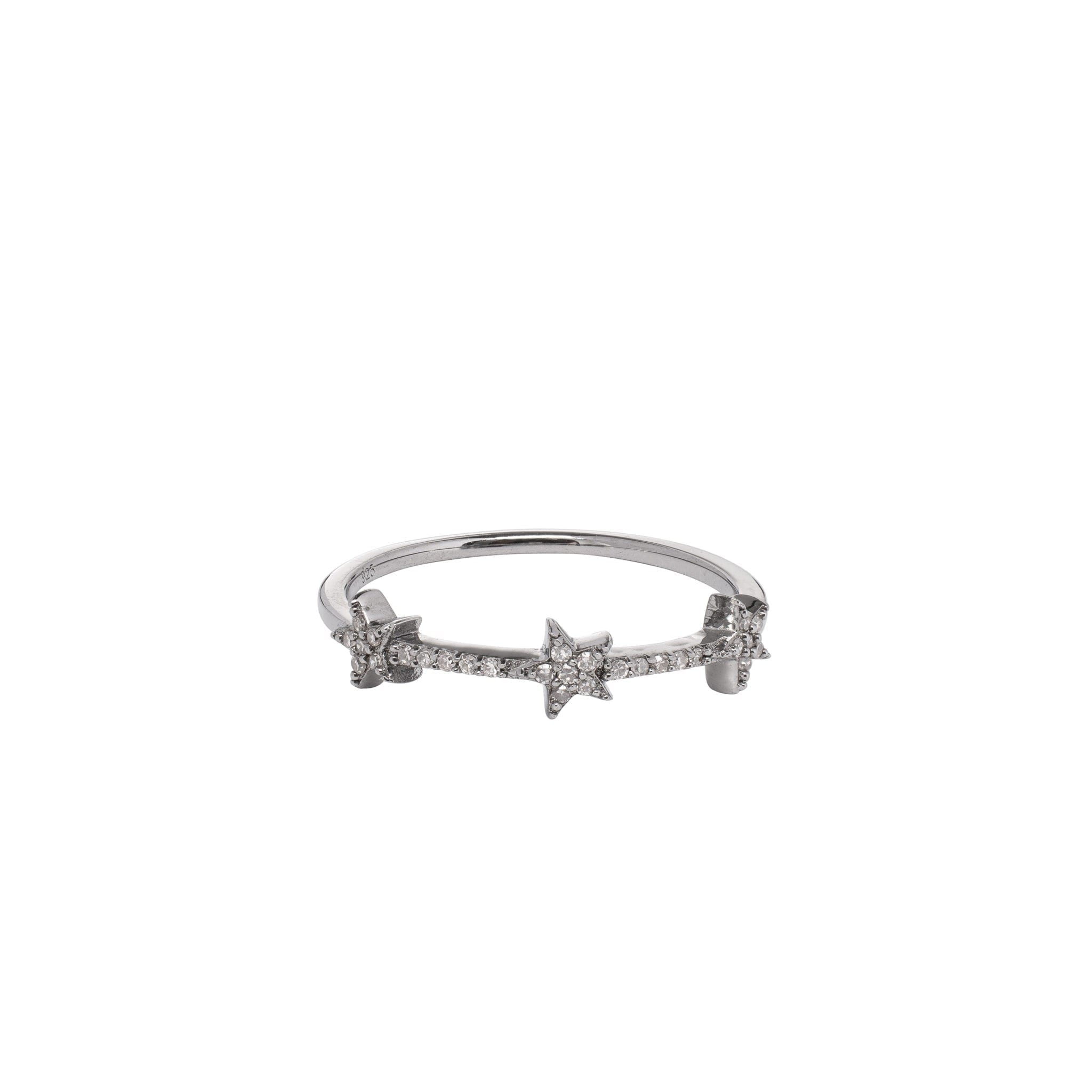 3 Star Mini Diamond Ring Sterling Silver