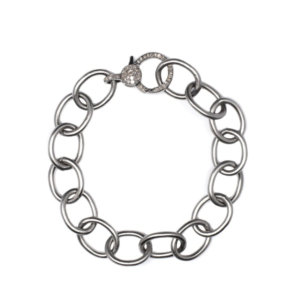 Chain Link Diamond Clasp Bracelet Sterling Silver