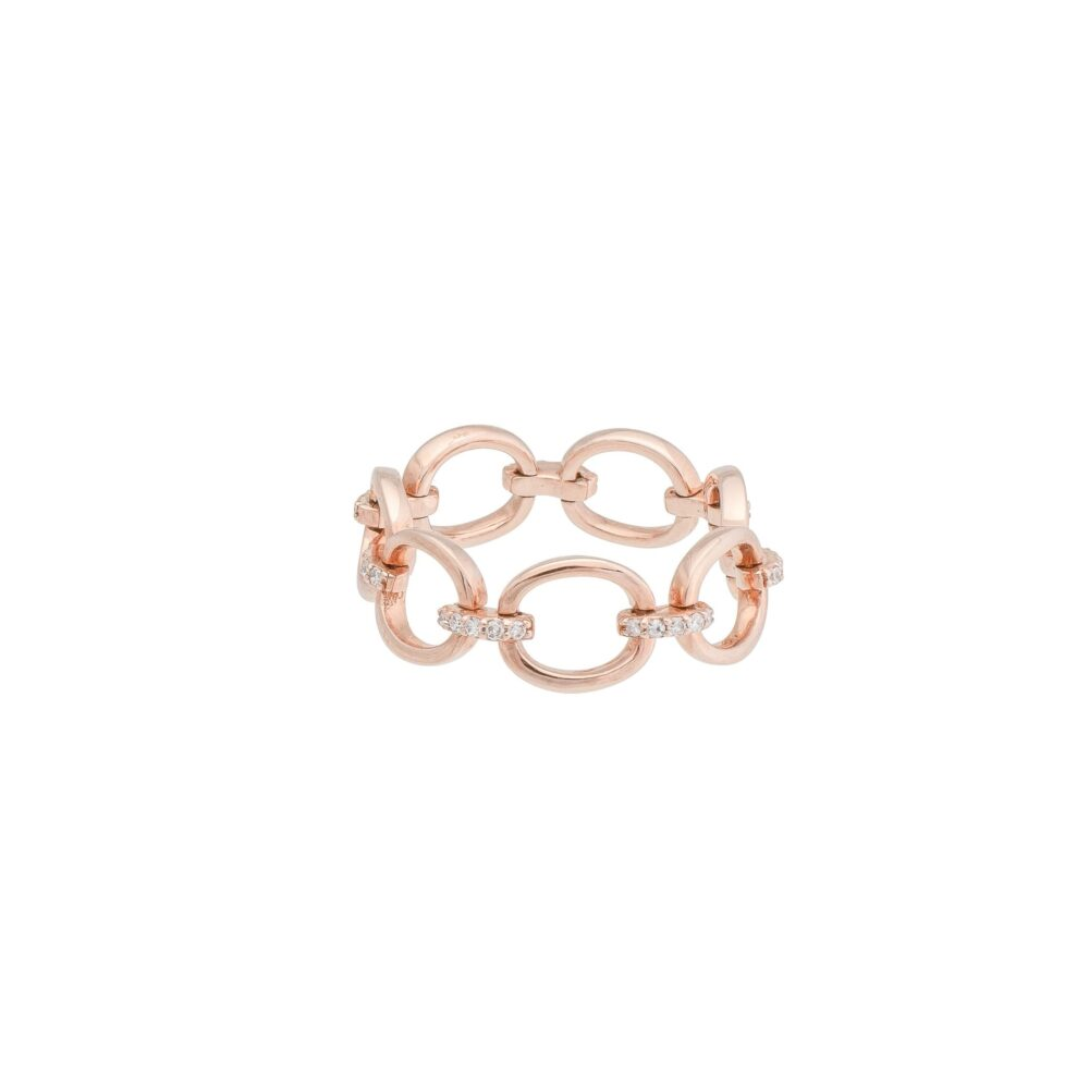 Chain Link Ring with Diamonds Rose Gold