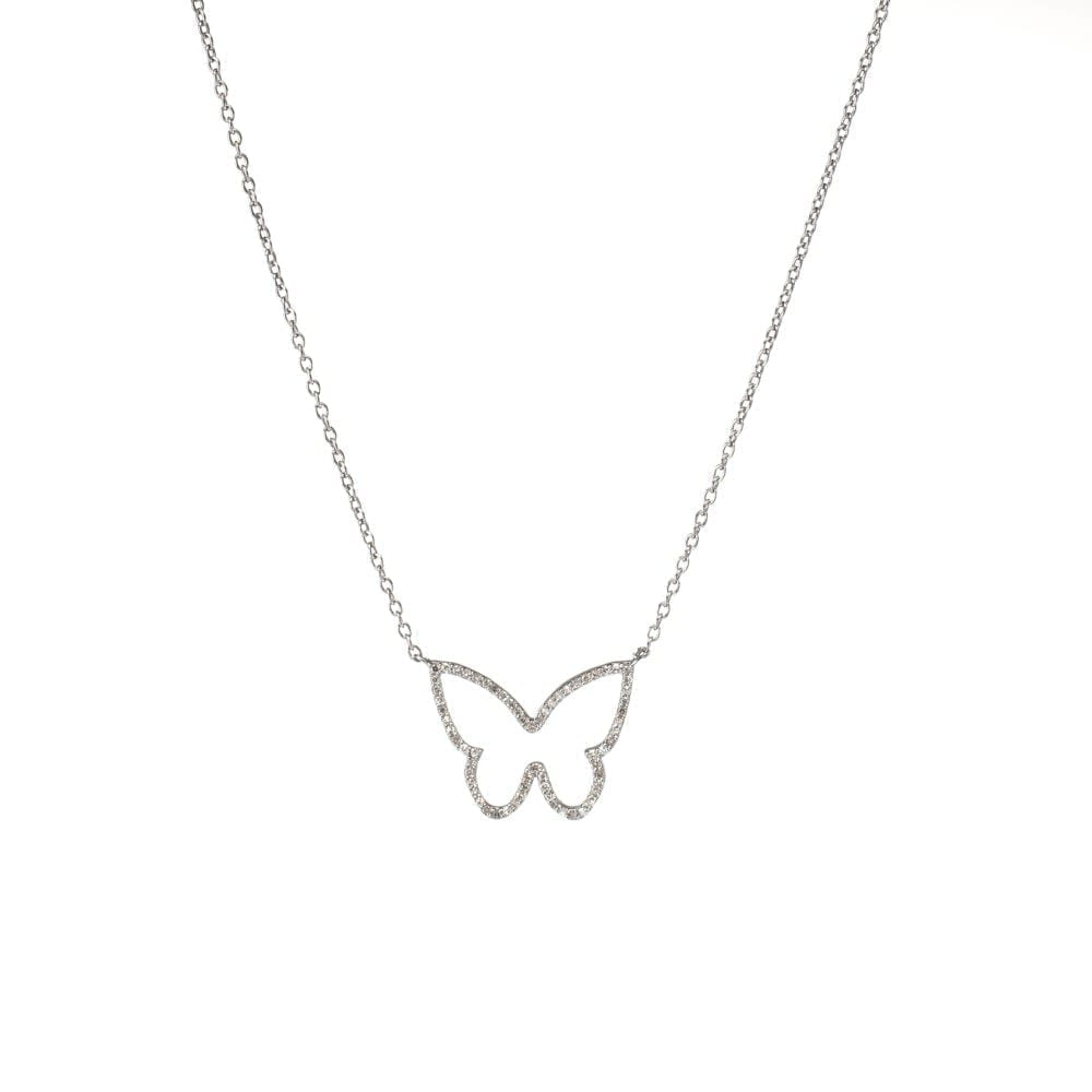 Diamond Butterfly Pendant Necklace Sterling Silver
