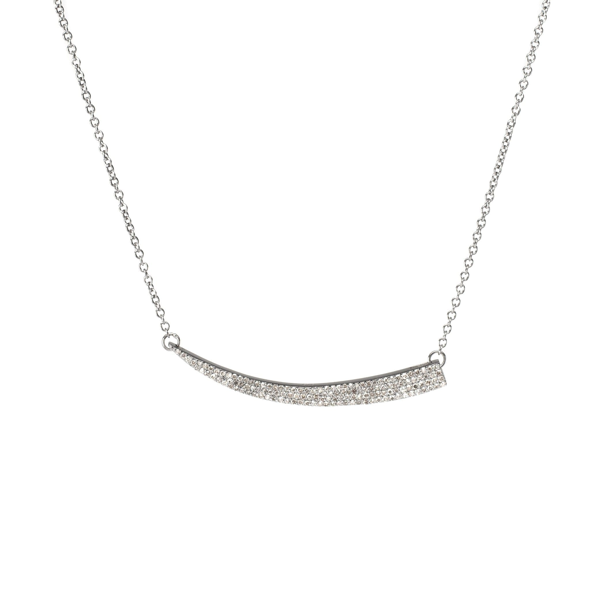 Diamond Horn Bar Pendant Necklace Sterling Silver