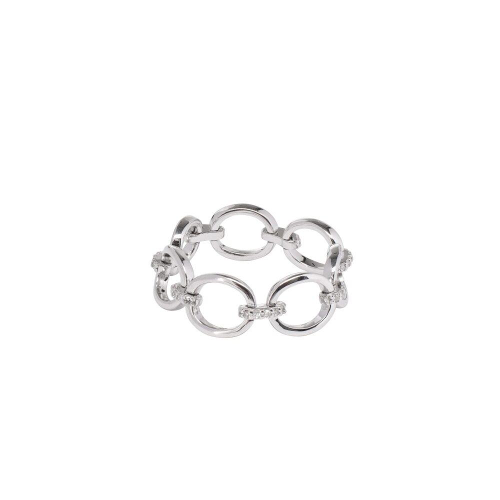 Diamond Link Ring 14k White Gold