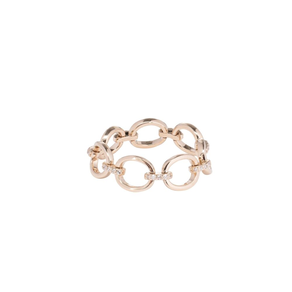 Diamond Link Ring 14k Yellow Gold