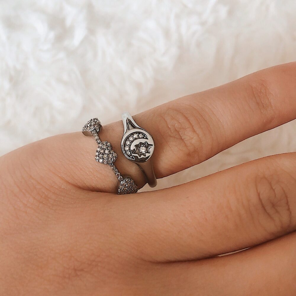 Diamond Moon + Star Pinky Signet Ring