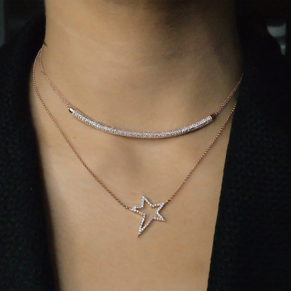 Diamond Rounded Bar Necklace