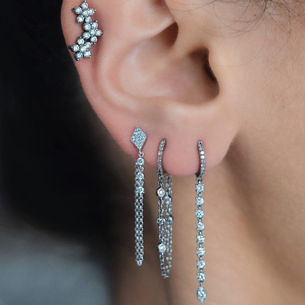 Huggie Diamond By Yard Chain Earrings