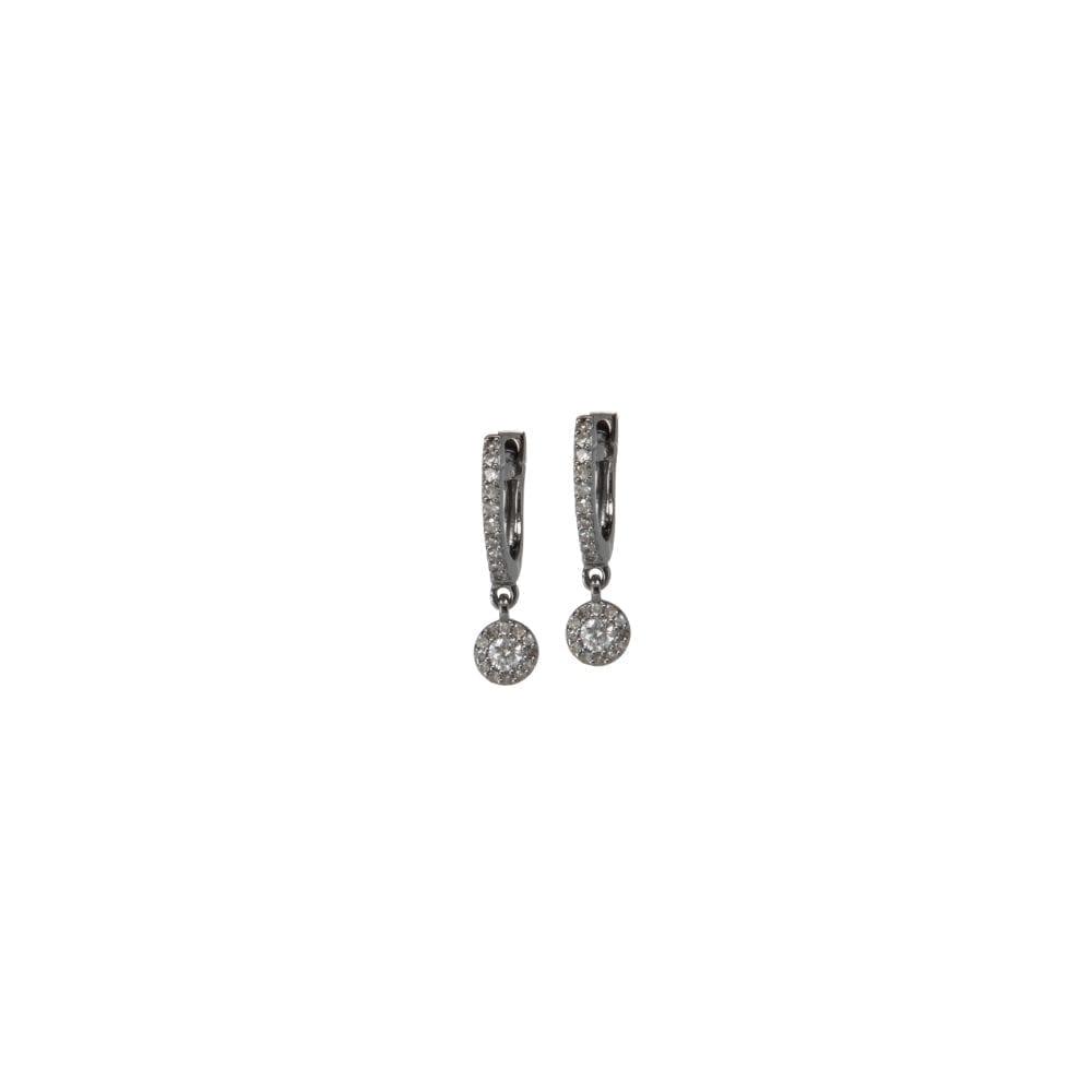 Micro Pave Huggies with Diamond Halo Dangles Silver