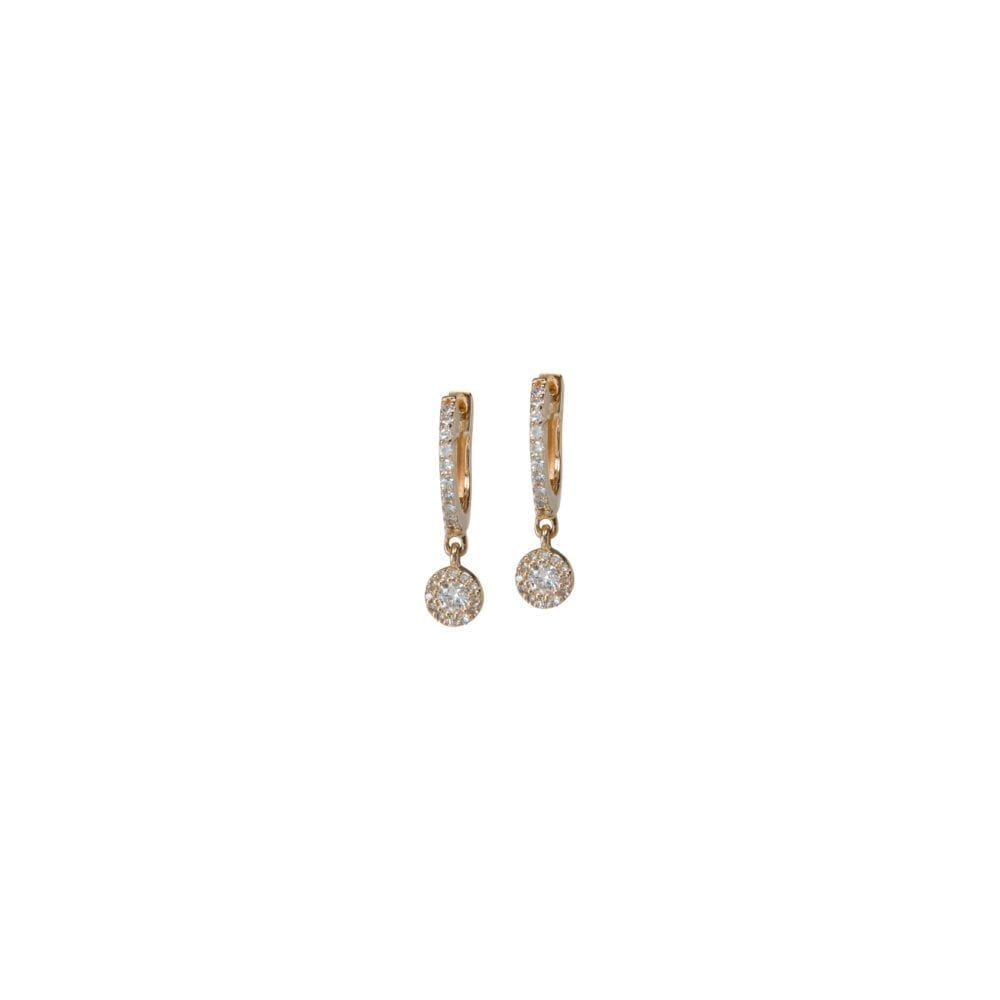 Micro Pave Huggies with Diamond Halo Dangles Yellow Gold