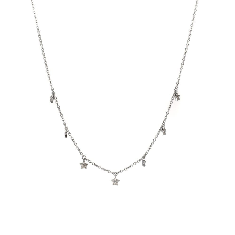 Mini Diamond Dangling Star Necklace Sterling Silver