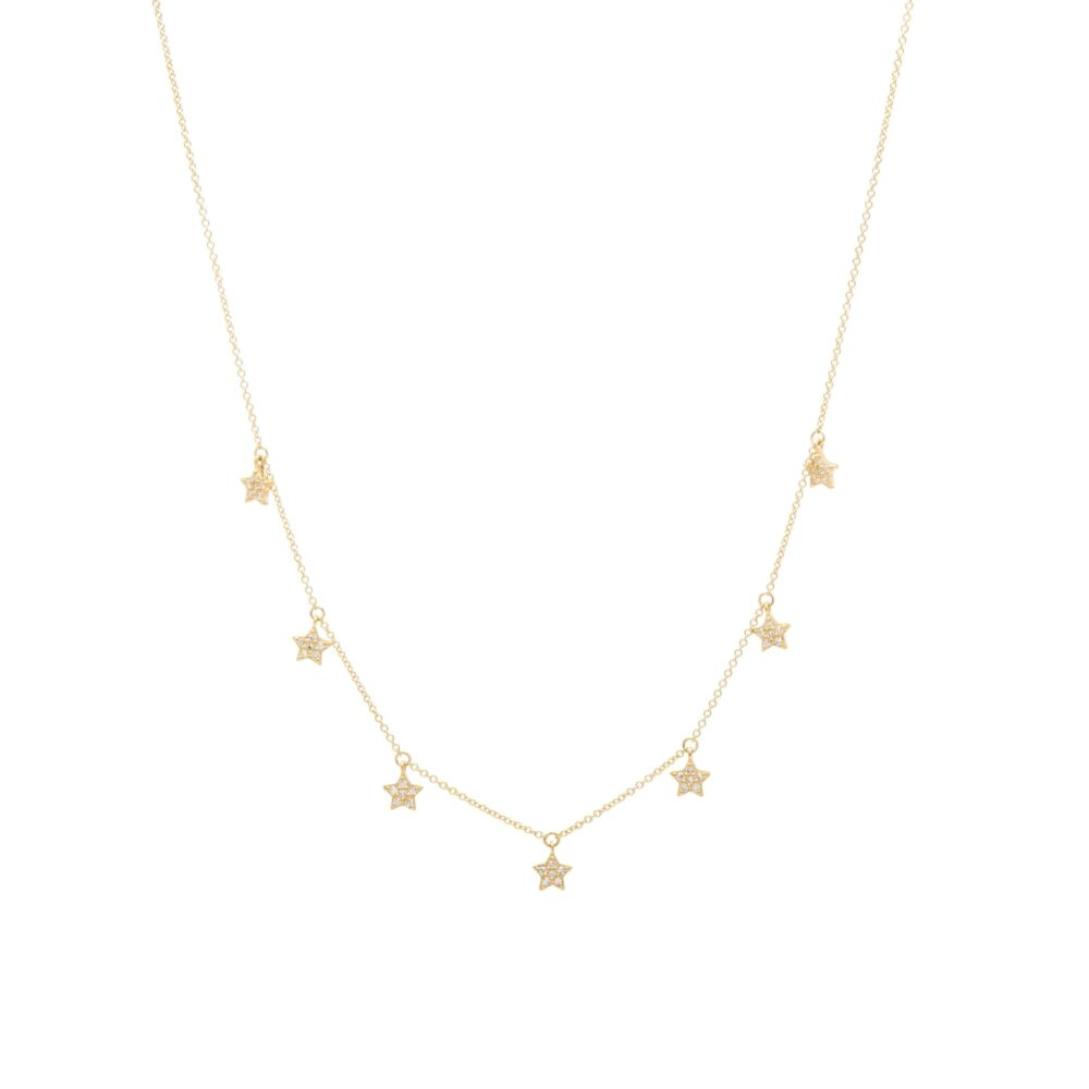 Mini Diamond Dangling Star Necklace Yellow Gold