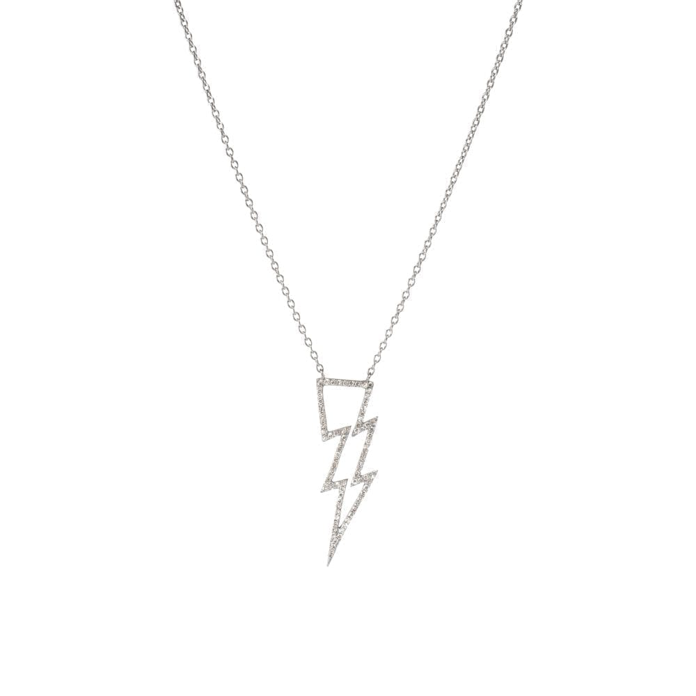 Open Design Diamond Lightning Bolt Necklace Silver