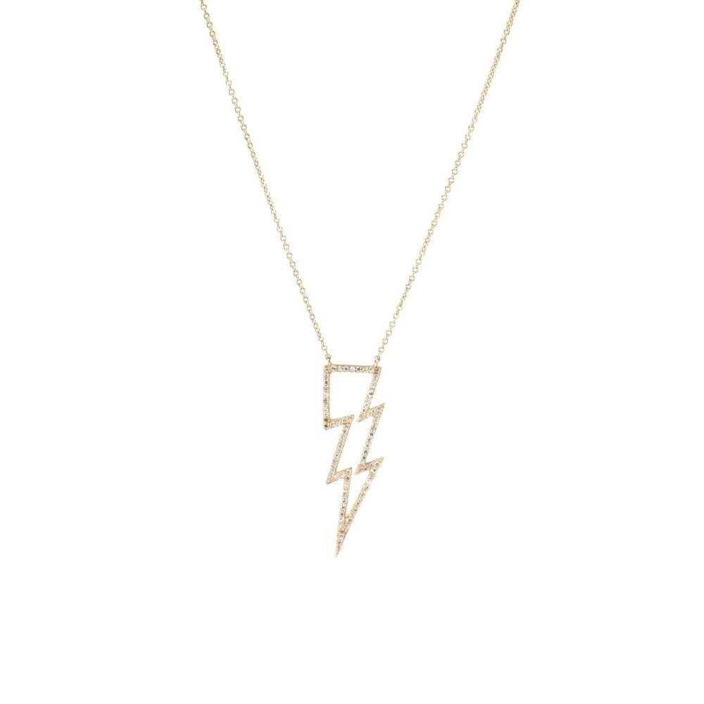 Open Design Diamond Lightning Bolt Necklace Yellow Gold
