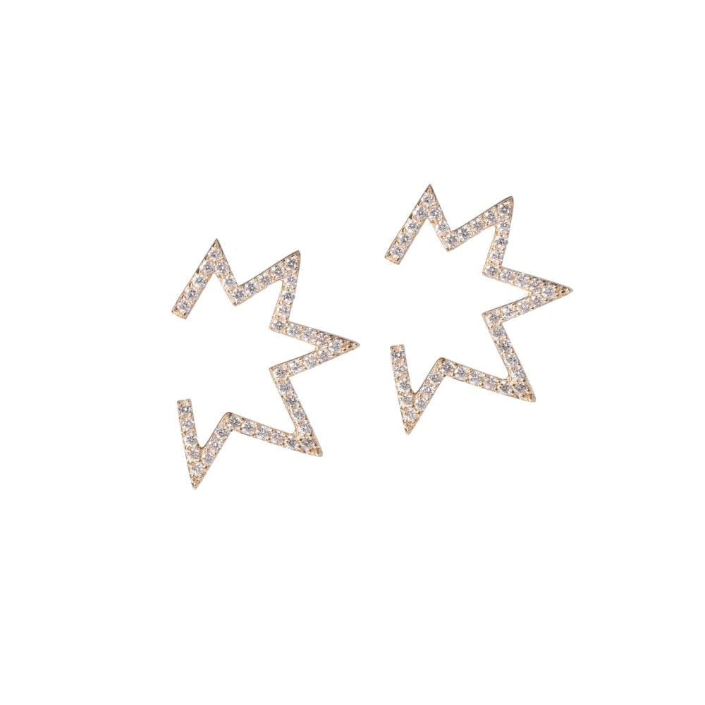 Open Mod Diamond Star Earrings 14k Yellow Gold