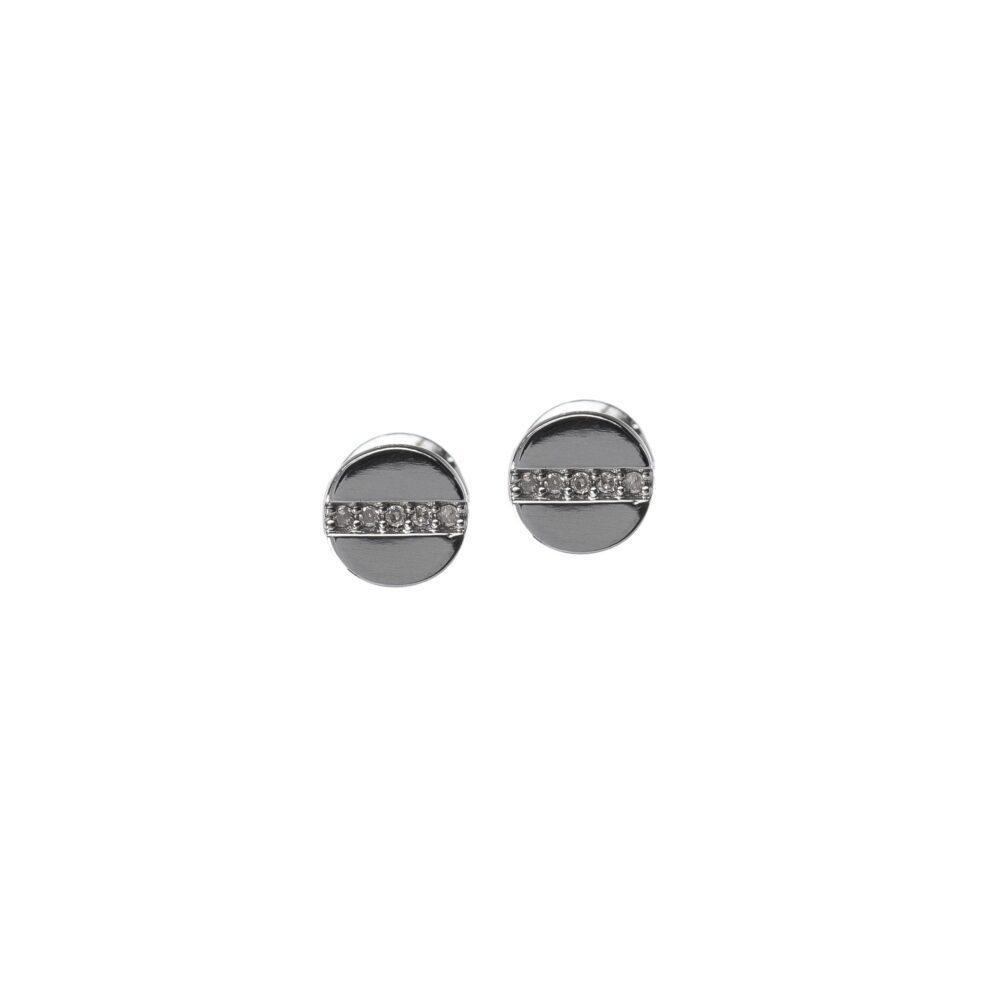Petite Diamond Nail Head Diamond Earrings Sterling Silver