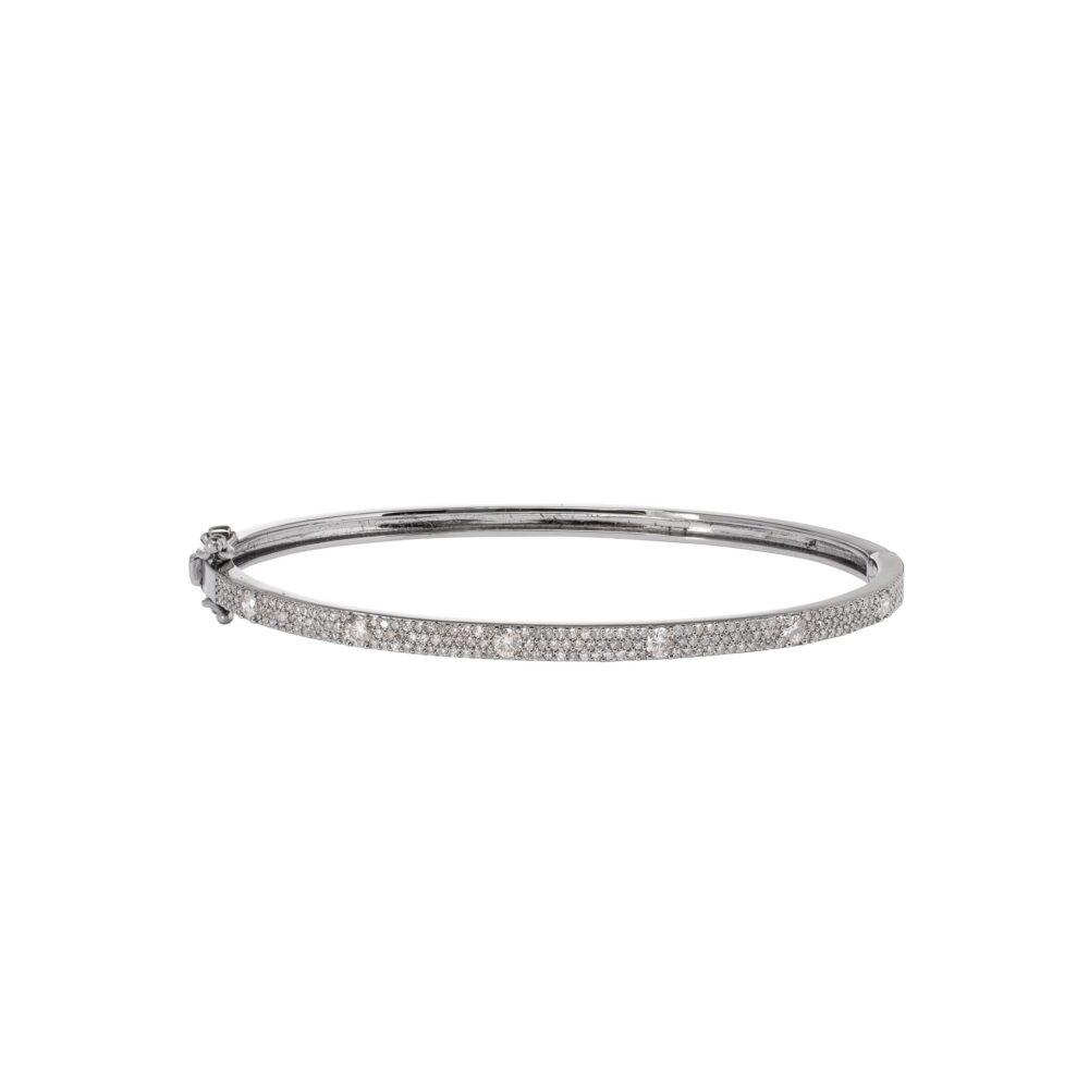 Skinny Pave and Solitaire Diamond Bangle Sterling Silver