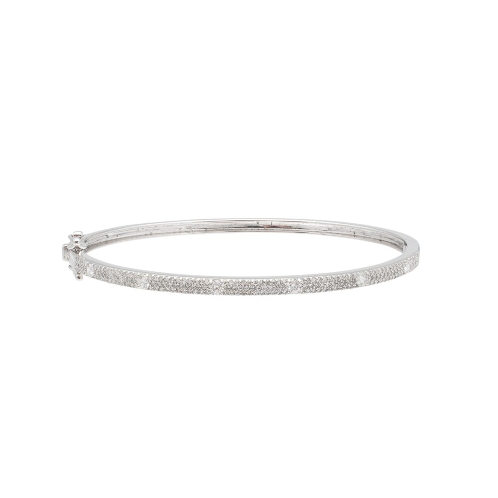 Skinny Pave with Solitaire Diamonds Bangle White Gold