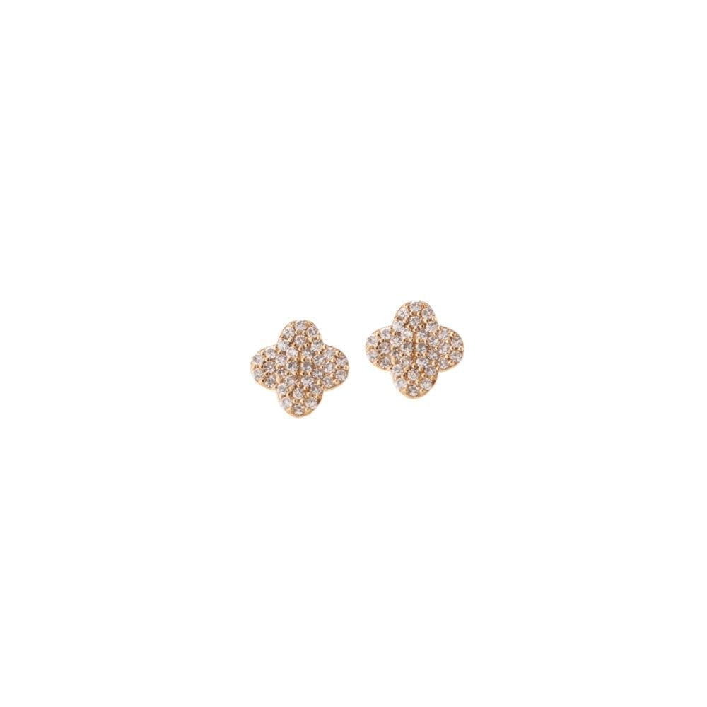 Tiny Pave Diamond Clover Earrings Yellow Gold