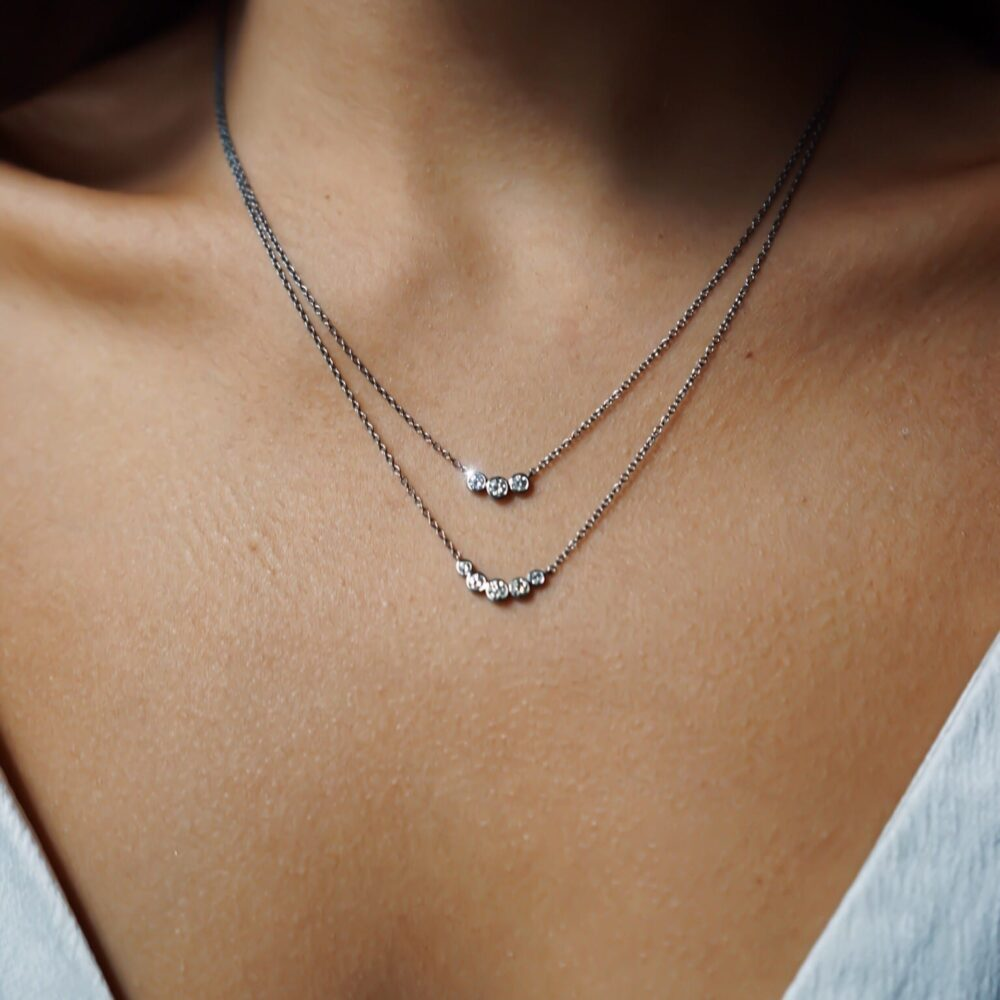 Triple Diamond Bezel Set Necklace