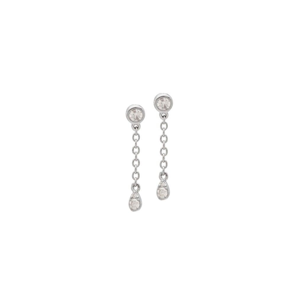 Diamond Bezel Chain Drop Earrings Sterling Silver