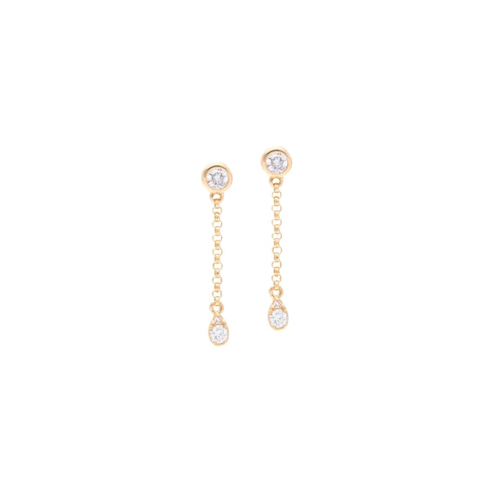 Diamond Bezel Chain Drop Earrings Yellow Gold