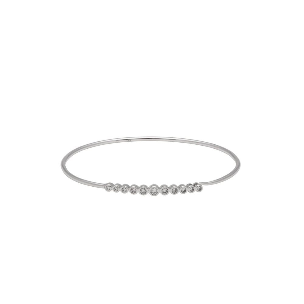 Diamond Bezel Wire Bracelet 14k White Gold