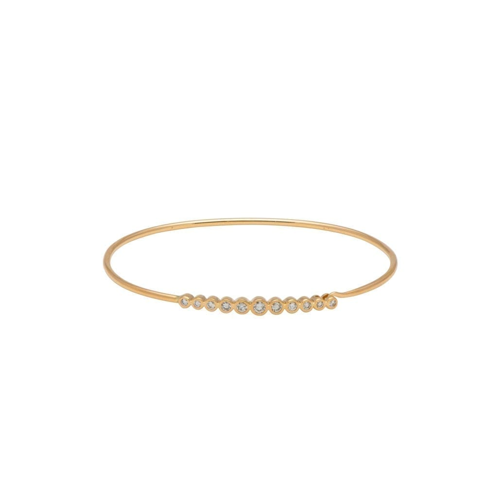 Diamond Bezel Wire Bracelet 14k Yellow Gold
