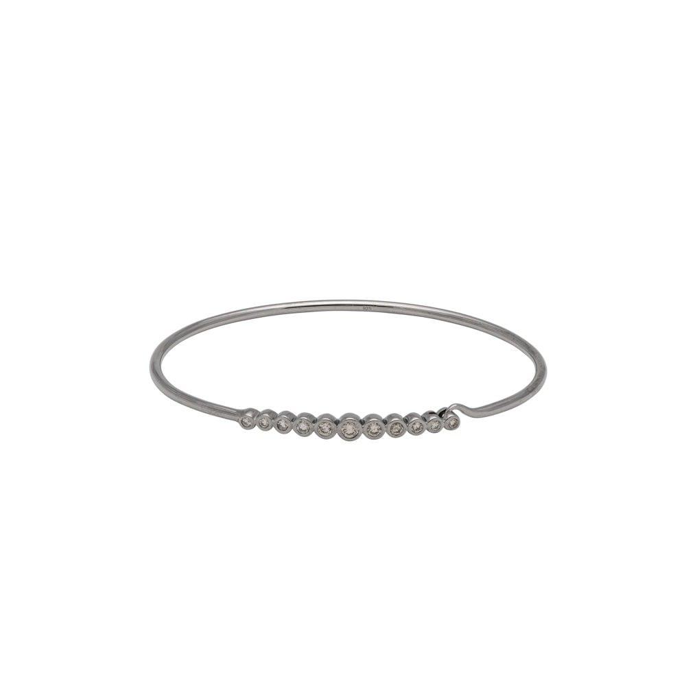 Diamond Bezel Wire Bracelet Sterling Silver
