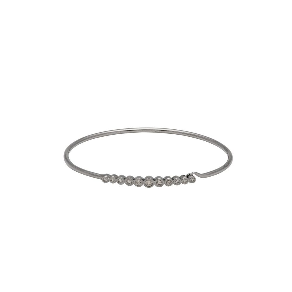 Diamond Bezel Wire Bracelet Sterling Silver