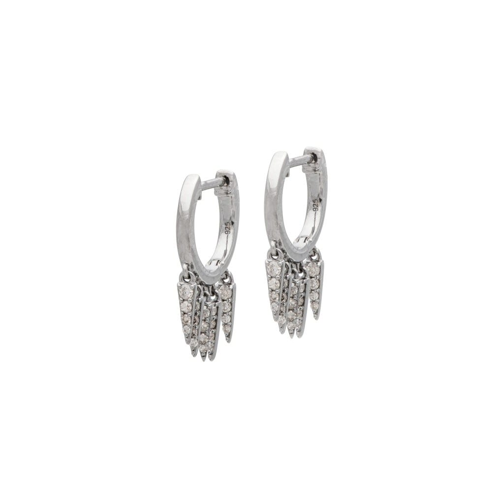 Diamond Dagger Fringe Huggies Sterling Silver