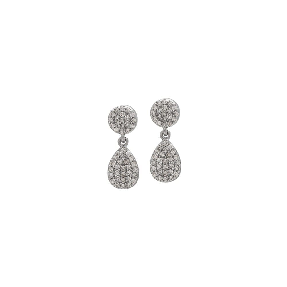 Diamond Disc Teardrop Earrings Sterling Silver
