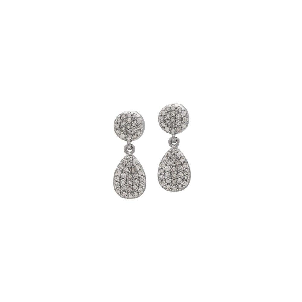 Diamond Disc Teardrop Earrings Sterling Silver