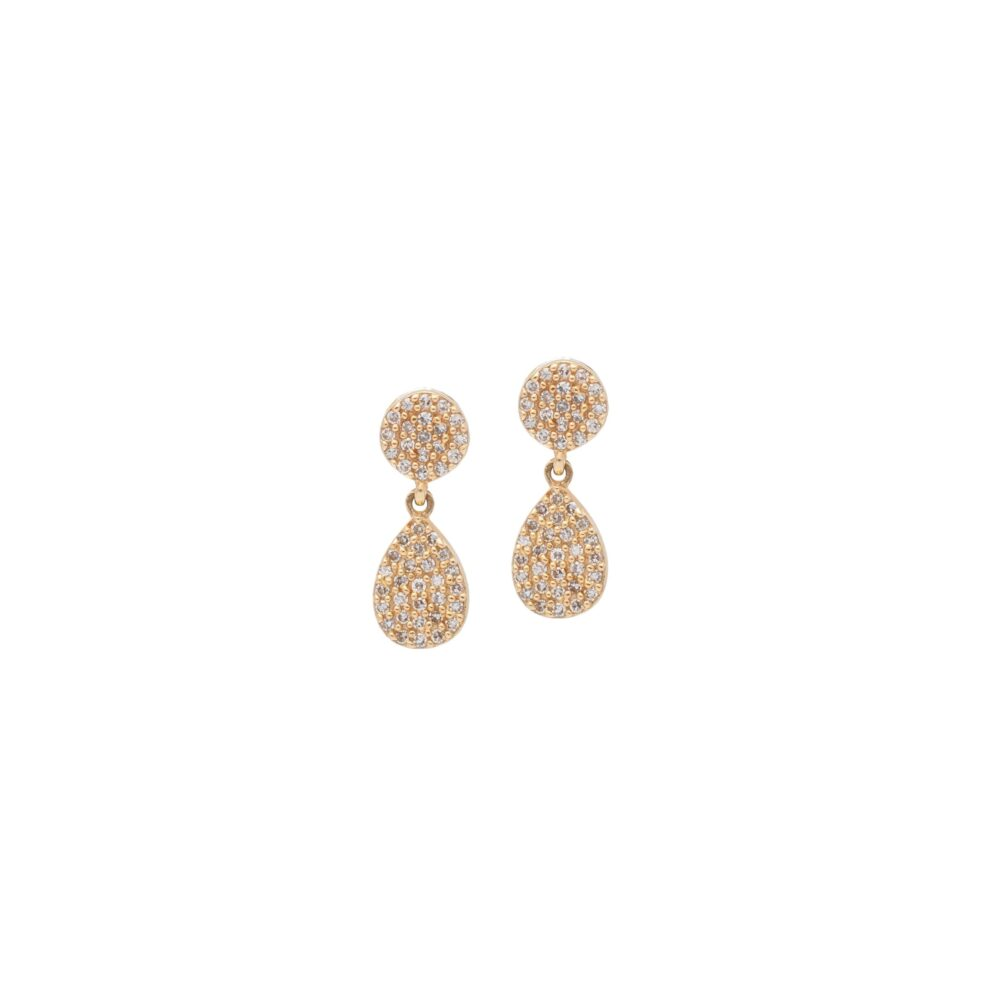 Diamond Disc Teardrop Earrings Yellow Gold