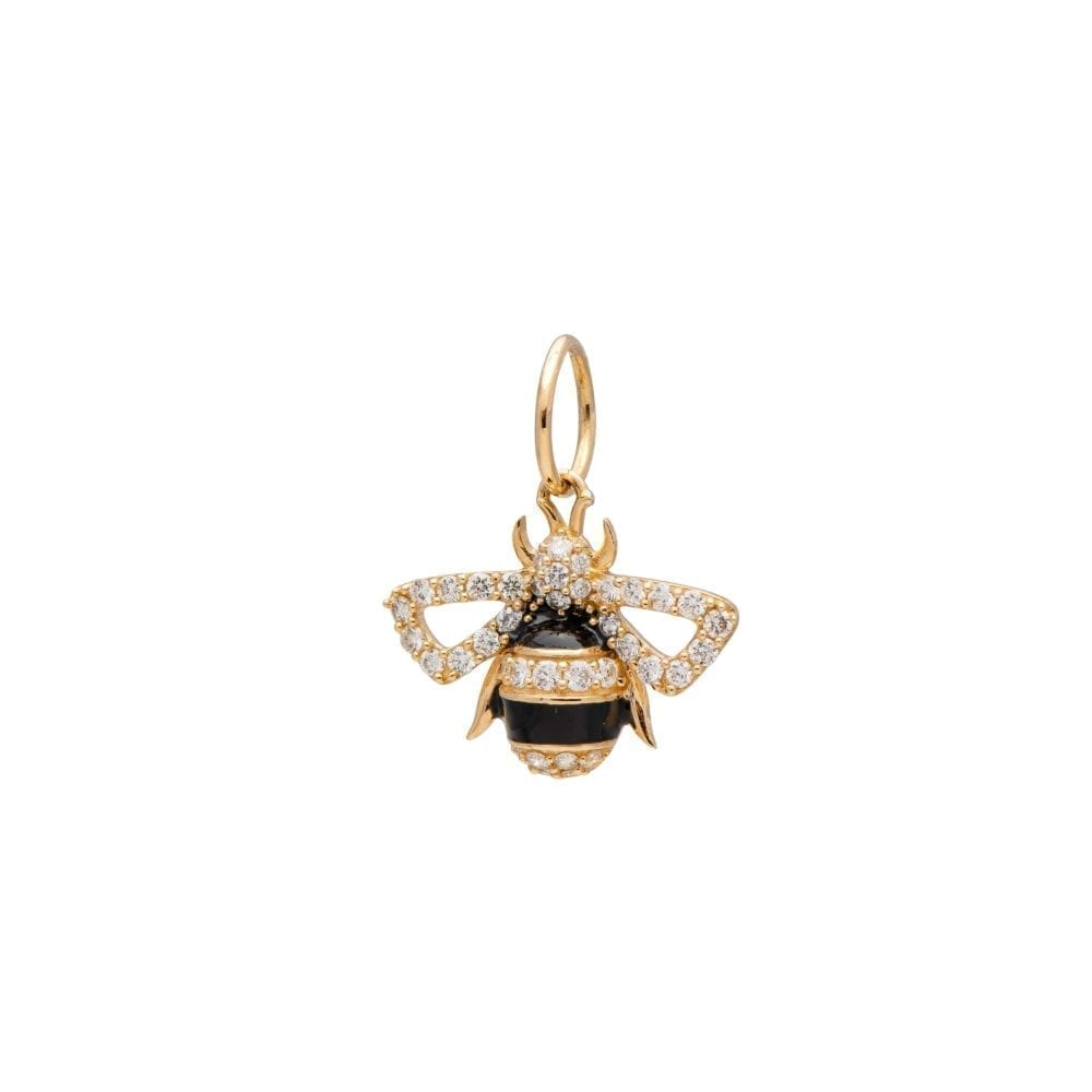 Diamond Enamel Bee Charm 14k Yellow Gold