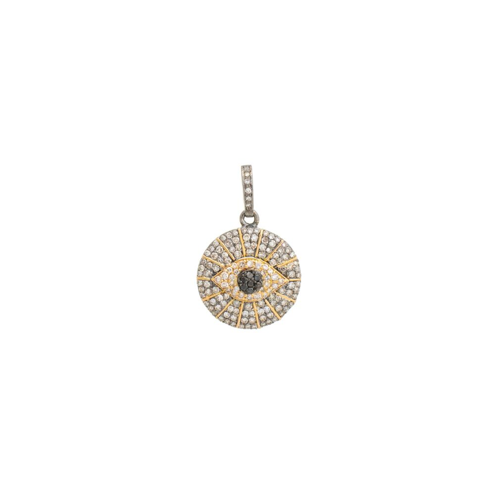 Diamond Evil Eyelash Charm Silver and Gold