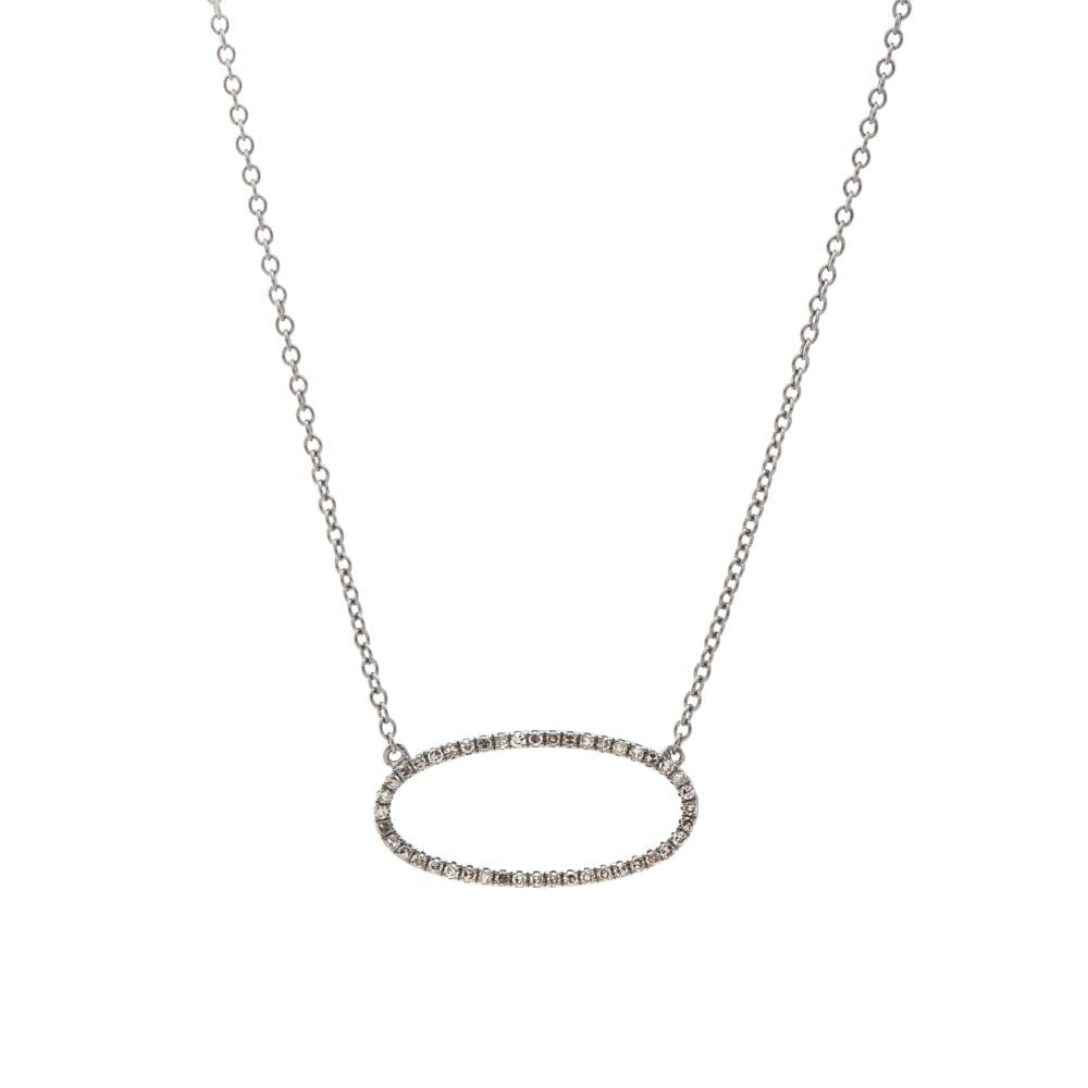 Diamond Open Oval Necklace Sterling Silver