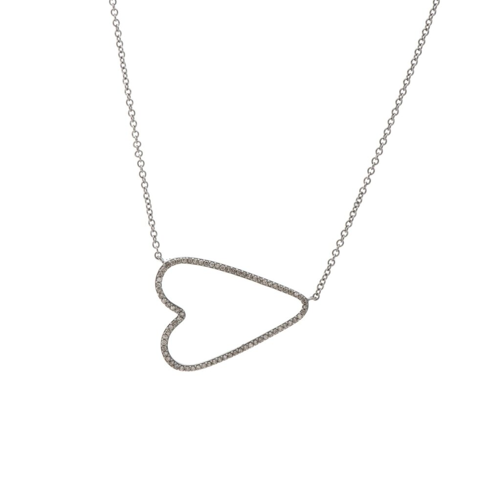 Diamond Open Sideway Heart Necklace Sterling Silver