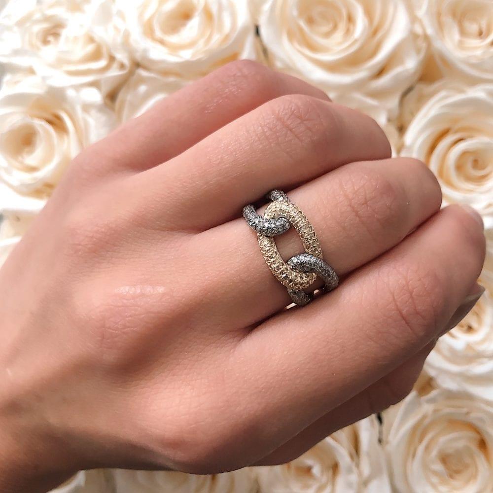 Diamond Triple Link Ring