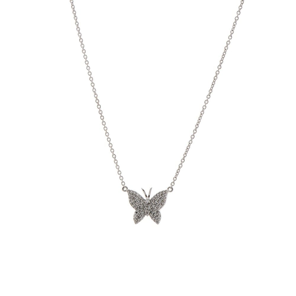 Medium Diamond Butterfly Necklace Sterling Silver