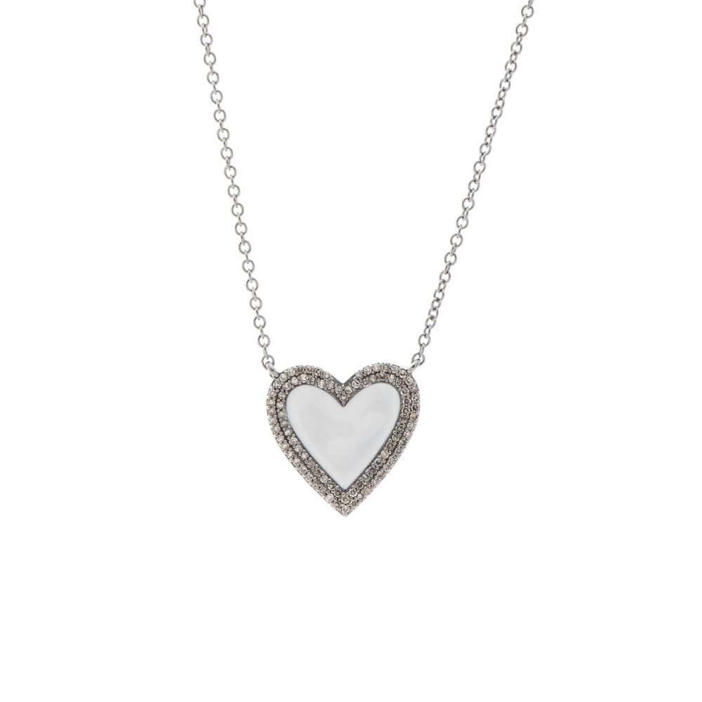 Medium Diamond White Enamel Heart Necklace