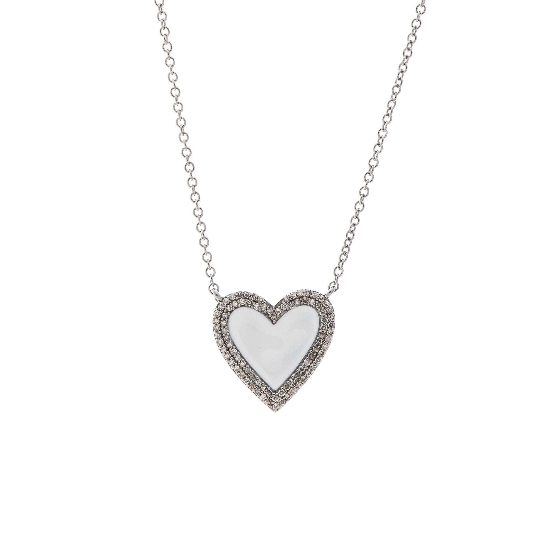 Medium Diamond White Enamel Heart Necklace