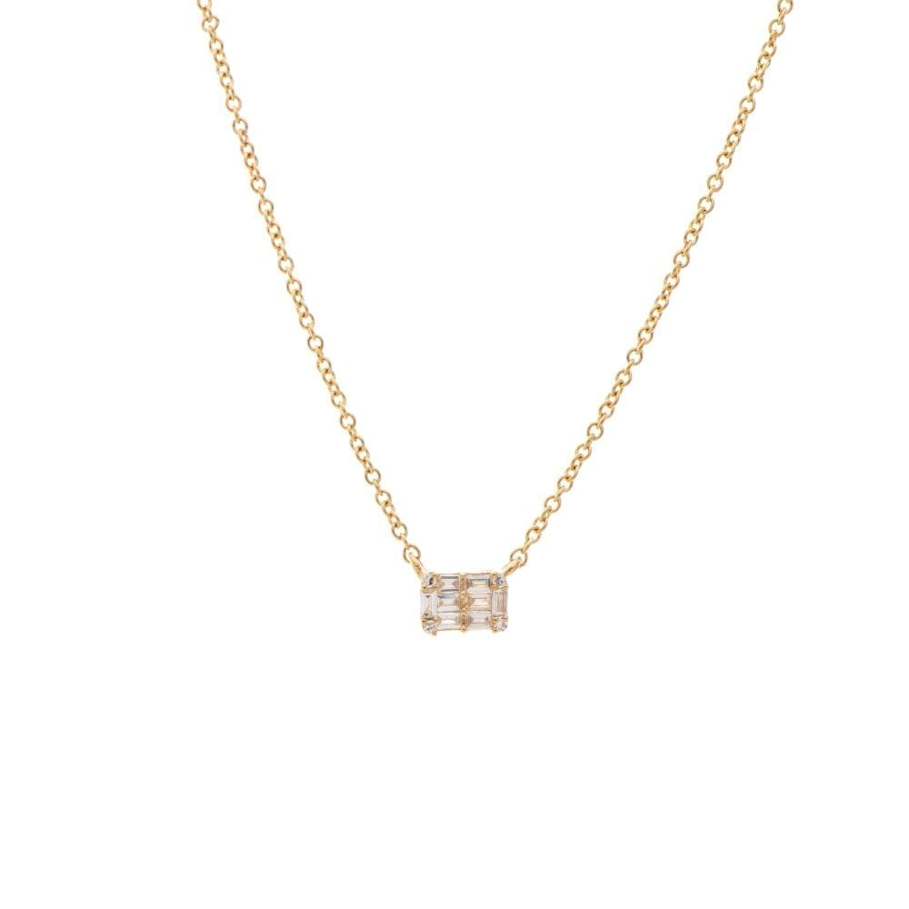 Mini Diamond Baguette Necklace 14k Yellow Gold