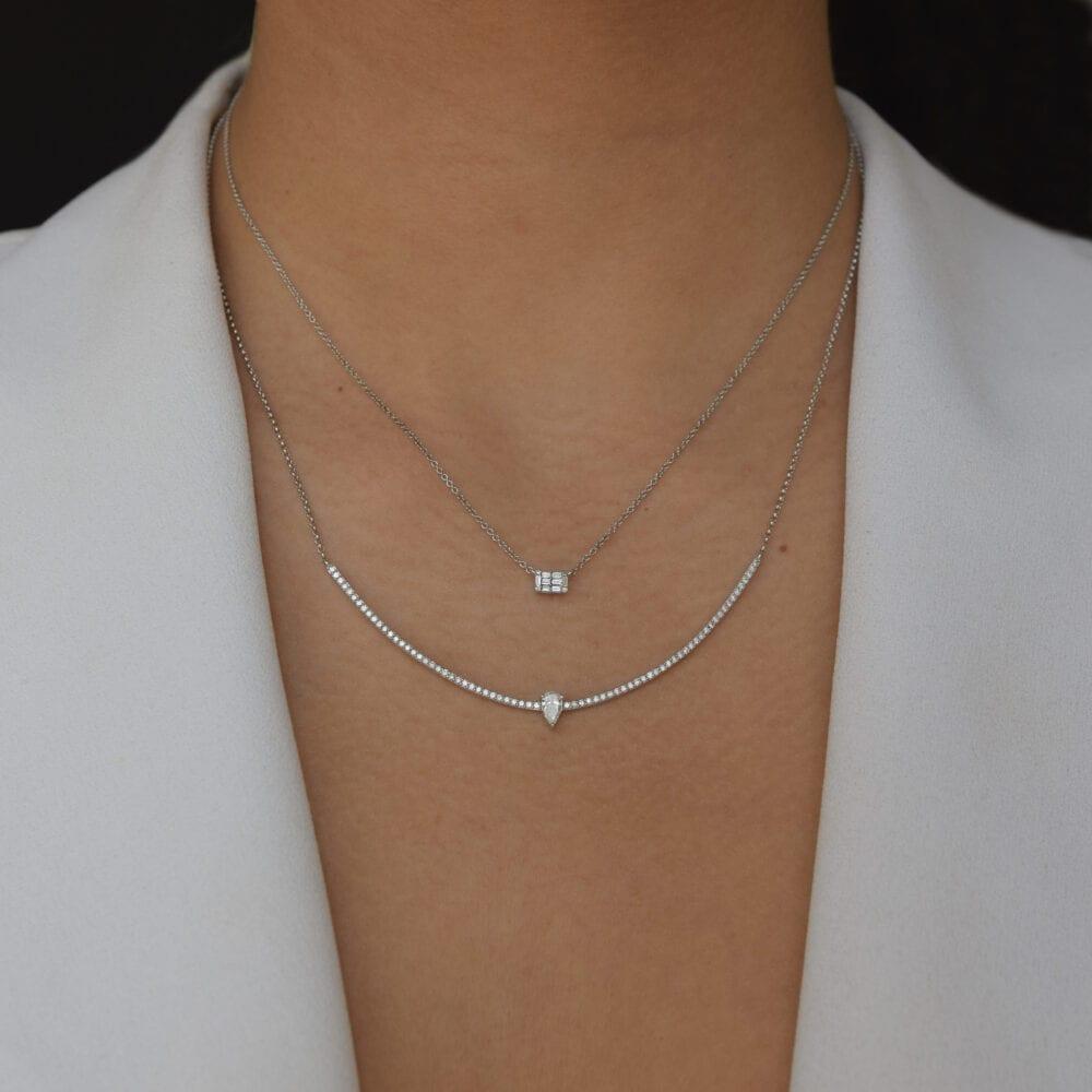 Mini Diamond Baguette Necklace